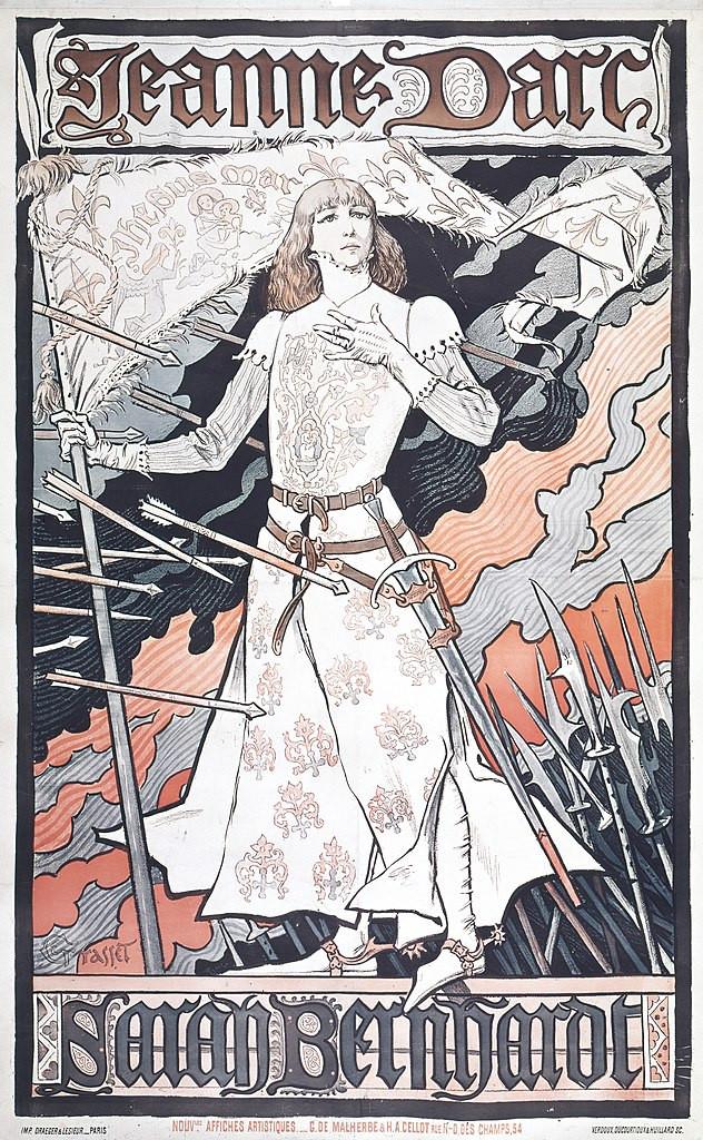 Filmplakat von Eugène Samuel Grasset: Sarah Bernhardt als Jeanne d'Arc, Foto (cc-Lizenz): MCAD Library