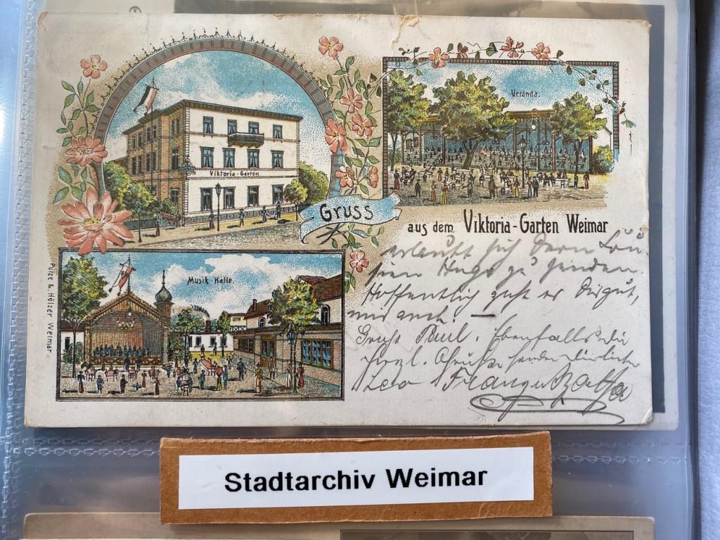 Fotobuch von Postkarten aus Weimar, Signatur 60 3-520 im Stadtarchiv (Fotograf: unbekannt)