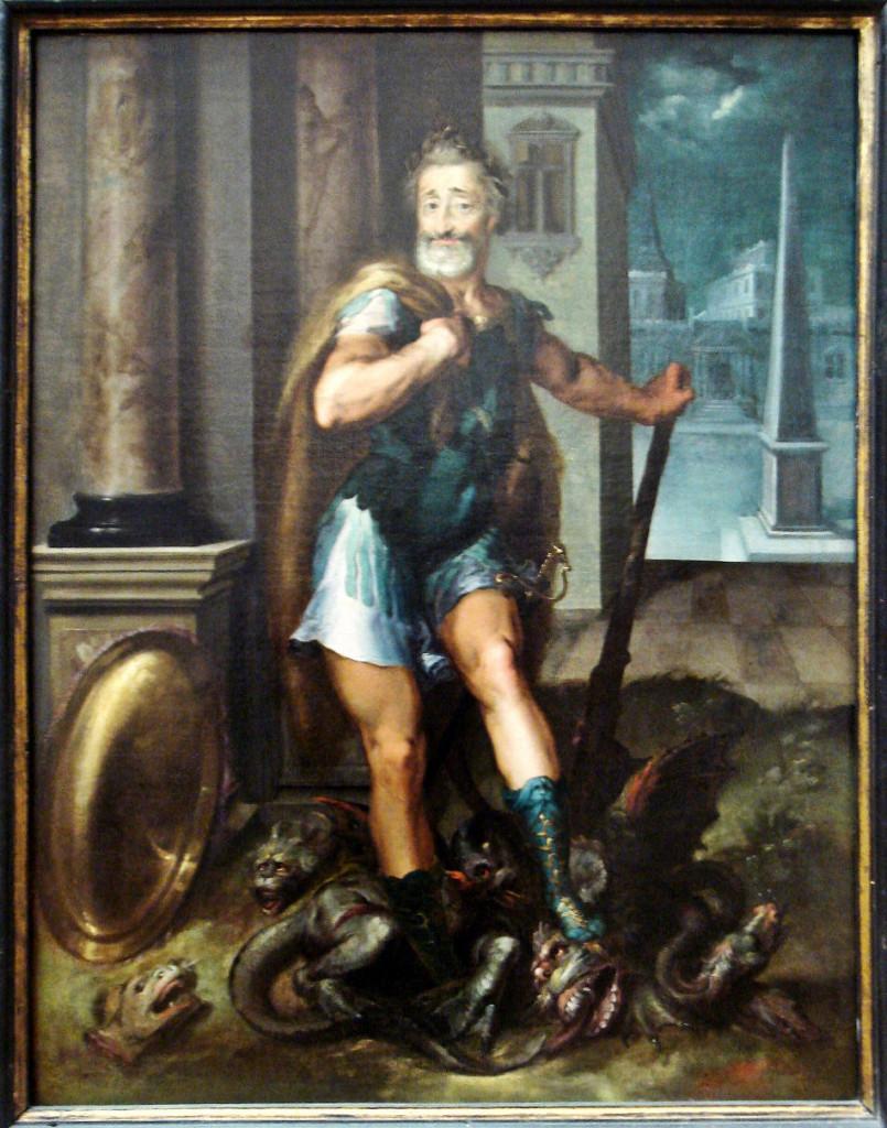 Henry IV en Herculeus terrassant l Hydre de Lerne cad La ligue Catholique Atelier Toussaint Dubreuil circa 1600  (Foto: Wikimedia Commons)